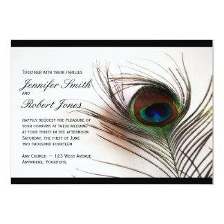Convite do casamento do encanto da pena do pavão