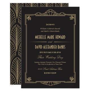 Convite do casamento do estilo do art deco