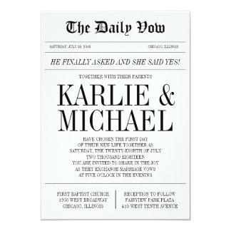Convite do casamento do estilo do jornal