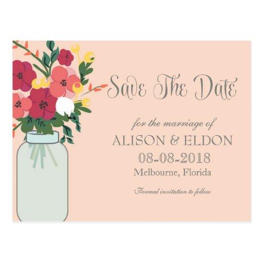 Convite do casamento do frasco de pedreiro - abric cartões postais