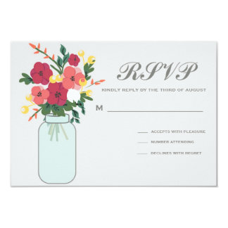 Convite do casamento do frasco de pedreiro - azul convite 8.89 x 12.7cm