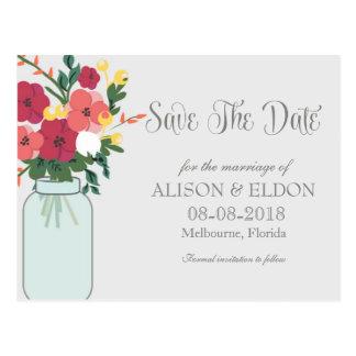 Convite do casamento do frasco de pedreiro - azul cartao postal