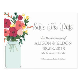 Convite do casamento do frasco de pedreiro - branc cartao postal