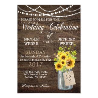 Convite do casamento do frasco de pedreiro do país