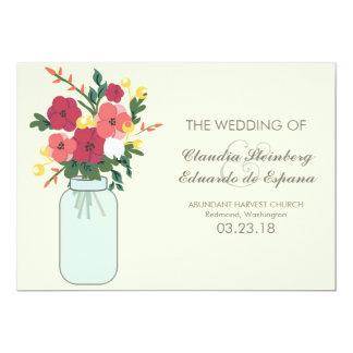 Convite do casamento do frasco de pedreiro - louro convite 12.7 x 17.78cm