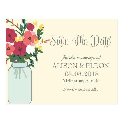 Convite do casamento do frasco de pedreiro - louro cartao postal