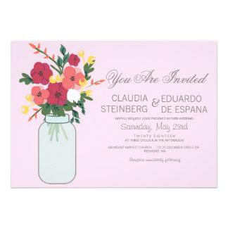 Convite do casamento do frasco de pedreiro - rosa