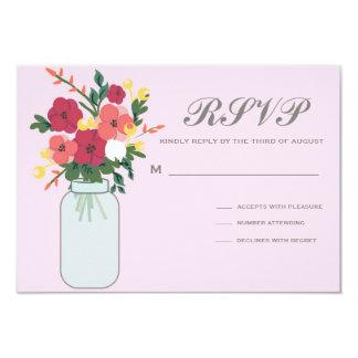 Convite do casamento do frasco de pedreiro - rosa convite 8.89 x 12.7cm