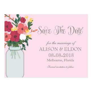 Convite do casamento do frasco de pedreiro - rosa cartão postal