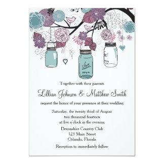 Convite do casamento do frasco de pedreiro - roxo convite 12.7 x 17.78cm
