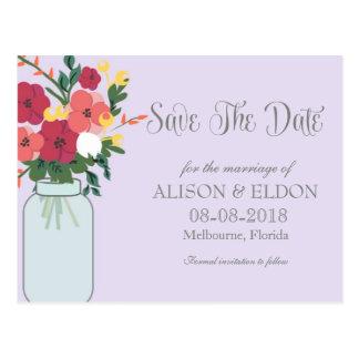 Convite do casamento do frasco de pedreiro - Ube P Cartões Postais