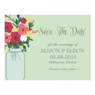 Convite do casamento do frasco de pedreiro - verde cartoes postais
