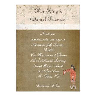 Convite do casamento do girafa & da coruja