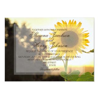 Convite do casamento do girassol e do por do sol