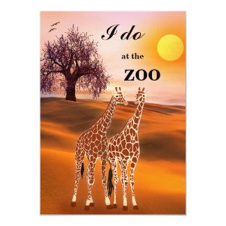 Convite do casamento do jardim zoológico do safari