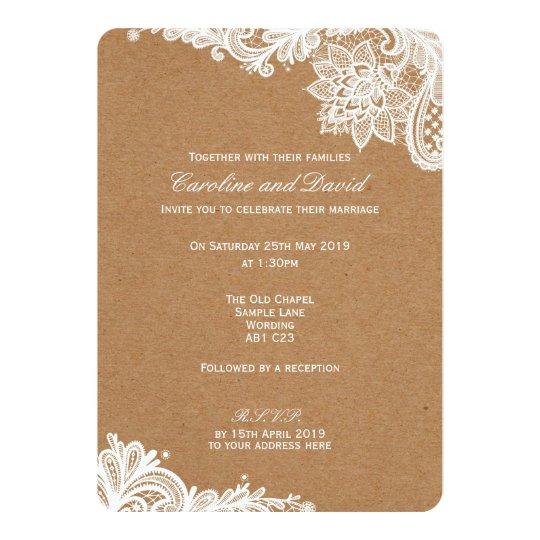 Convite do casamento do lao de kraft zazzle convite do casamento do lao de kraft stopboris Choice Image