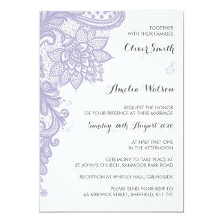 Convite do casamento do laço do Lilac