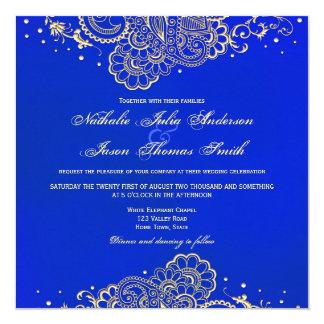Convite do casamento do laço do marinho e do Henna