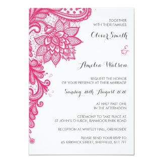 Convite do casamento do laço do rosa quente