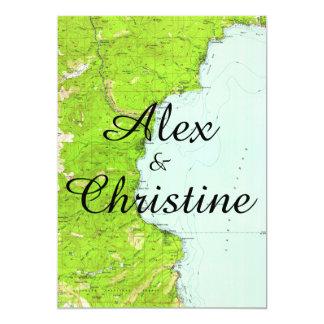 Convite do casamento do mapa de Lake Tahoe