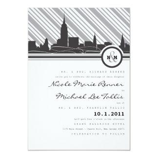 Convite do casamento do monograma de New York