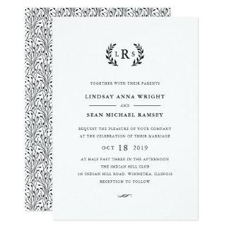 Convite do casamento do monograma do louro
