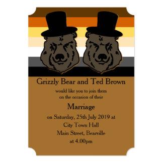 Convite do casamento do orgulho do urso convite 12.7 x 17.78cm