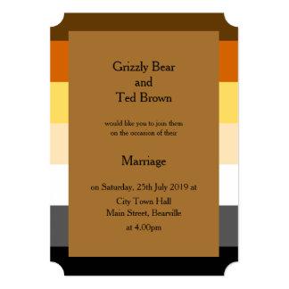 Convite do casamento do orgulho do urso do ouro convite 12.7 x 17.78cm