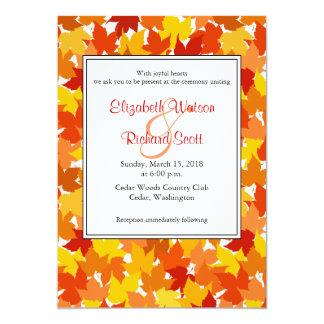 Convite do casamento do outono da árvore de bordo