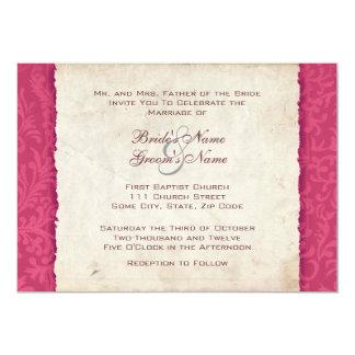 Convite do casamento do país do rosa quente convite 12.7 x 17.78cm
