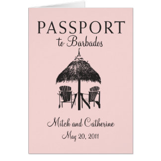 Convite do casamento do passaporte de Barbados