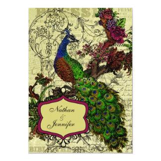 Convite do casamento do pavão do vintage