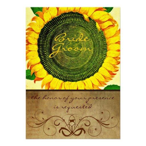 Convite do casamento do pergaminho do girassol
