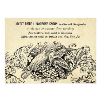 Convite do casamento do pergaminho do Lovebird do