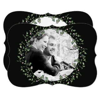 Convite do casamento do preto da foto da grinalda