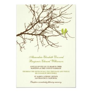 Convite do casamento do ramo dos pássaros do amor