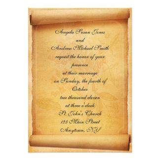 Convite do casamento do rolo do pergaminho
