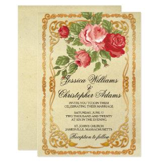 Convite do casamento do rosa & da rosa vermelha do