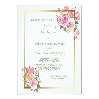 Convite do casamento do rosa do rosa do quadro do