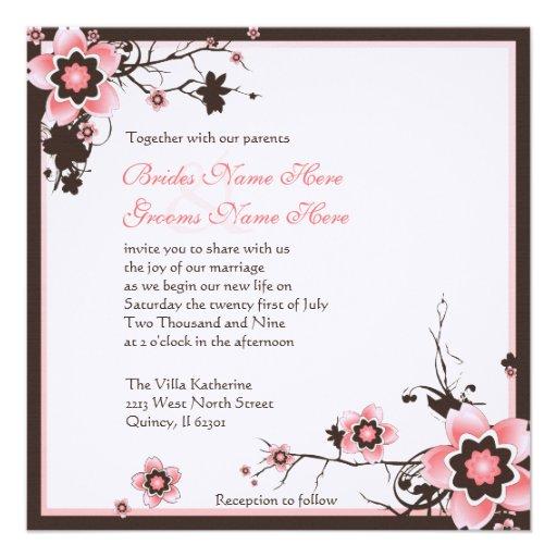 Convite Do Casamento Do Rosa E Da Flor De Cerejeir De Zazzle   Br