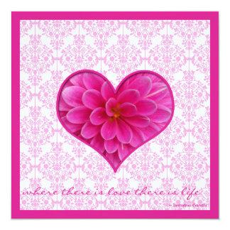 Convite do casamento do rosa quente & do branco convite quadrado 13.35 x 13.35cm