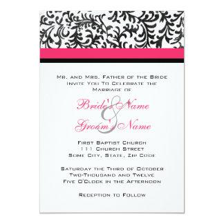Convite do casamento do rosa quente e do preto convite 12.7 x 17.78cm