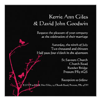 convite do casamento do rosa quente e do quadrado