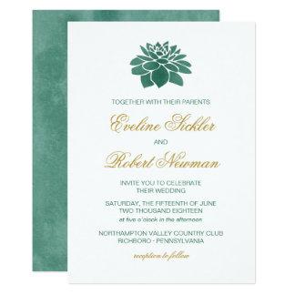 Convite do casamento do Succulent da aguarela