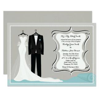 Convite do casamento do vestido & do smoking ou do
