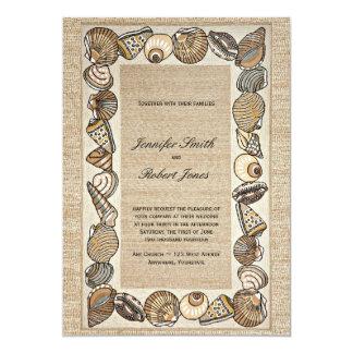 Convite do casamento do Weave da beira do Seashell