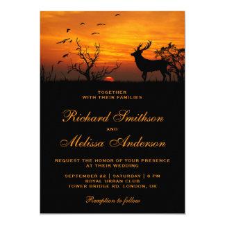 Convite do casamento dos cervos do por do sol da