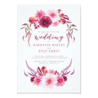 Convite do casamento outono da aguarela das dálias
