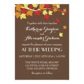 Convite do casamento outono das folhas de bordo de convite 12.7 x 17.78cm