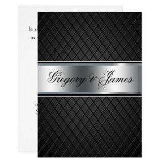 Convite do casamento, preto e de prata elegantes
